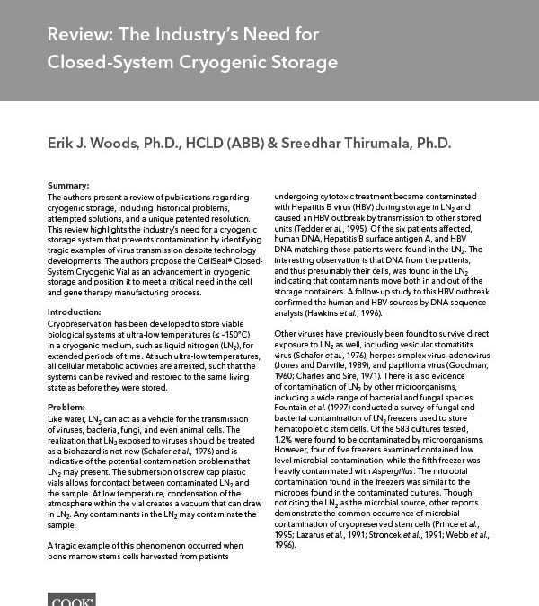 Review: The Industry's Need for Closed-System Cryogenic Storage (November 2017)