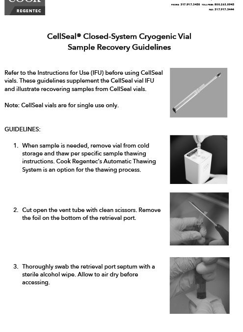 CellSeal Vial Sample Recovery Instructions
