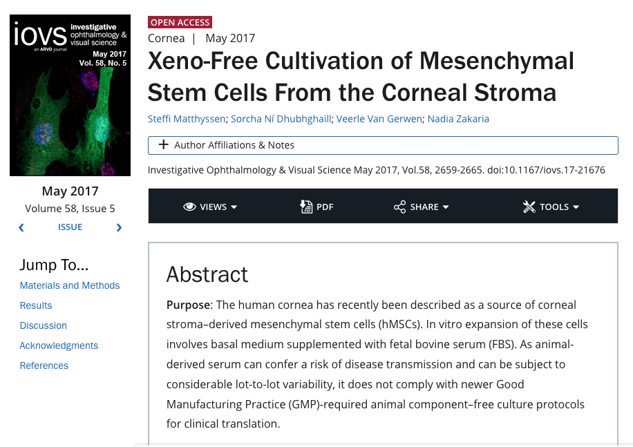 Xeno-Free Cultivation of Mesenchymal Stem Cells From the Corneal Stroma (IOVS, an ARVO Journal, May 2017)